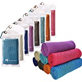 "Hystrada 8 Pack Cooling Towels 40"" x 12""-Cooling Scarf, Cold snap Cooling Towel for Instant Cooling Relief for All Physical A"