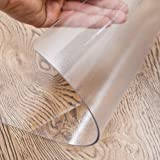OstepDecor Custom 1.5mm Thick Crystal Clear PVC Table Cover Protector Desk Pads Mats Multi-Size, PVC, Brown, 24 x 48 Inches
