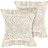 Livalaya Macrame Pillow Covers – 17 Inches Set of 2 Ivory Boho Throw Cushion Case, Farmhouse Woven Boho Cushion Cover with Ta