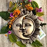 Sun Moon Half Face Metal Brass Decorative Plate Handmade for Wall and Home décor, Gifting - Wall Hanging