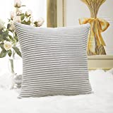 "HOME BRILLIANT Solid Decorative Accent Pillow Case Striped Corduroy Plush Velvet Cushion Cover For Sofa 18"" X 18"" Light Grey"
