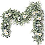 Tiny Land 6ft Eucalyptus Garland with White Rose- Faux Floral Garland for Wedding Décor & Arch & Dinner Table- 392 Silk Green