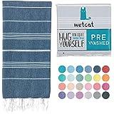 Wetcat Original Turkish Beach Towel (37 x 70) - Prewashed Peshtemal, 100% Cotton - Highly Absorbent, Quick-Drying and Ultra-S