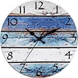 """Bernhard Products Rustic Beach Wall Clock 12"""" Round, Silent Non Ticking - Battery Operated, Fiberboard Wooden Look, Vintage S"""
