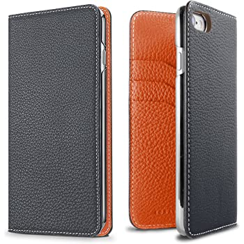 2d4487701c32 iPhone 8 / 7ケース BONAVENTURA ボナベンチュラ German Leather 2 Tone Diary case -  Navy×Orange (ネイビー×オレンジ)