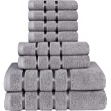 Utopia Towels Cool Grey Towel Set 8-Piece - Viscose Stripe Towels - 600 GSM Ring Spun Cotton - Highly Absorbent Towels (Pack
