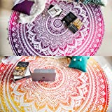 Set of 2 Ombre Mandala Round Tapestry Hippie Indian Mandala Roundie Picnic Table Cover Hippy Spread Boho Gypsy Cotton Tablecl