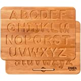 Panda Brothers Wooden Alphabet Tracing Board - Montessori Letters for Learning to Read and Write, Fine Motor Development and