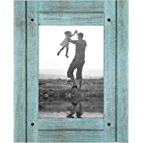 Americanflat 5x7 Rustic Picture Frame in Turquoise Blue with Textured Wood and Polished Glass - Horizontal and Vertical Forma