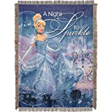 """Disney's Cinderella, Kindness and Courage Woven Tapestry Throw Blanket, 48"""" x 60"""" A Night to Sparkle Woven Tapestry Multicolo"""