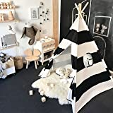 Tiny Land Kids Teepee Tent for Boys, Black and White Stripe Children Play Tent with Canvas Carry Case for Indoor & Garden