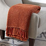 """Stone & Beam Modern Woven Farmhouse Throw Blanket, Soft and Cozy, 50"""" x 60"""", Orange and Red"""
