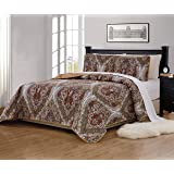 (King/California King) - Fancy Collection 3 Pc King/California King Quilted Bedspread Floral Print Brown White Green Taupe Re