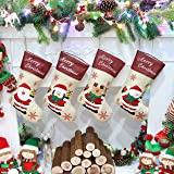Athoinsu 4 PCS Christmas Stockings Family Xmas Holiday Party Tree Home Decorations Gifts for Toddlers Kids, 19'' (Style2)