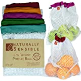 """Reusable Produce Bags The Original Eco - Friendly See Through and Washable Soft Premium Lightweight Nylon Mesh Large 12""""X14"""""""