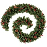 WeRChristmas Extra Thick Mixed Pine Garland with Cones and Berries, Natural, 9 feet