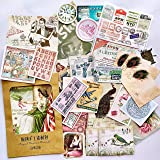 36PCS Packed Retro Washi Paper Decals Stickers, Doraking DIY Kraft Packed Vintage Decorative Stickers for Scrapbook, Gift Wra