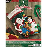 Bucilla Santa and Snowman Felt Applique Stocking Kit, 86658 18-Inch