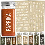 Talented Kitchen 134 White All Caps Spice Label Set: 134 Spice Names + Numbers. White Letters on Clear Sticker Water Resistan