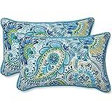 """Pillow Perfect Outdoor/Indoor Gilford Baltic Lumbar Pillows, 11.5"""" x 18.5"""", Blue, 2 Pack"""