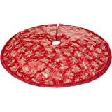 (Px3. Red/Gold) - 120cm Red Fabric With Gold Glitter Christmas Tree Skirt - Red/Gold