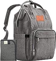 KeaBabies Baby Diaper Bag Backpack - Multi-Function Waterproof Travel Baby Bags, Large Maternity Nappy Bags, Classic Grey