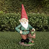 Pure Garden 50-LG1099 Lawn Gnome Statue-Fun Classic Style Resin Figurine for Outdoor Decor for Flower Beds, Fairy Gardens, Ba