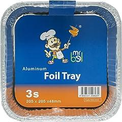 Bel 4353 Aluminium Tray, Square, Set of 3 Silver