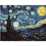 DIY Paint by Numbers Kit for Adults - Van Gogh The Starry Night Replica | DIY Paint by Numbers Landscape Scene Paintings Arts