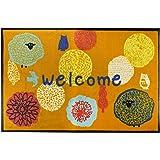 イケヒコ 玄関マット フォレスタ オレンジ 約59×90cm 花柄 屋外用 マット #2042069