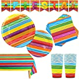 82 PCS Mexican Themed Fiesta Party Supplies Set Including Plates Cups Napkins Tablecloth and Banner for Cinco de Mayo, Mexica