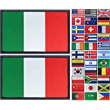 JBCD 2 Pack Italy Flag Patch Italian Flags Tactical Patch Pride Flag Patch for Clothes Hat Patch Team Military Patch