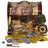 海賊 宝箱 セット MT-1 ゴールドコイン & シルバー コイン ペンダント リング コンパス 望遠鏡 KOZIMA Original package