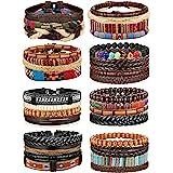 FIBO STEEL 32 Pcs Braided Leather Bracelets for Men Women Wooden Beads Cool Hemp Tribal Wristbands Cuff Punk Multilayered Bra