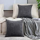 HOME BRILLIANT Set of 2 Throw Pillow Covers Soft Velvet Corduroy Striped Square Cushion Cover for Couch, 20 x 20 inch(50cm),
