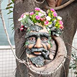TB TIBAG Cool Smoking Tree Faces Decor Outdoor, Whimsical Old Man Wall Flower Planter Tree Hugger Statues Garden Decor Yard A