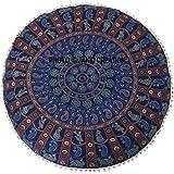 Multi Round Cotton Hippie Hippy Tapestry Decorative Boho Dorm Decor Throw Bohemian Indian Mandala pom Pom Round Pouf, Size 32