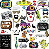 90s Throwback 1990s Party Theme Photo Booth Props 41 Pieces with Wooden Sticks and Strike a Pose Sign by Outside The Booth