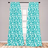 Ambesonne Turquoise 2 Panel Curtain Set, Foliage Pattern with Exotic Leaves Tropical Themed Image Graphic Stripes, Lightweigh