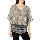 ONEWORLD Women's Woven Printed Blouse with Pleat Front Detail, Paisley