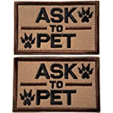 Set of 2 Service Dog/Ask to Pet Embroidered Tactical Morale Patch Badge for Dog Pet Tactical K9 Harness Vest (Ask to Pet Brow