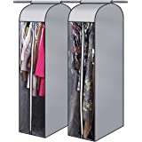 """MISSLO 54"""" Narrow Hanging Garment Bags for Storage Well Sealed Clothes Dust Cover with Large Clear Window and 2 Zippers Openi"""