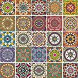 Leyu Multicolor Tile Decals Peel and Stick 25 PCS(6 in X 6 in) Backsplash Tile Stickers,Vinyl Decorative Stickers for Bathroo