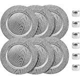 Home Collectives 13 Inch Round Elegant Serve ware Charger Plates with Matching Napkin Rings, Wedding, Dinner party, Event - C