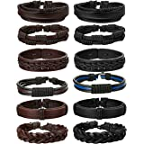 Jstyle 12Pcs Braided Leather Bracelet for Men Women Cuff Wrap Bracelet Adjustable Black and Brown