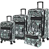 Steve Madden Designer Luggage Collection - 4 Piece Softside Expandable Lightweight Spinner Suitcase Set - Travel Set includes