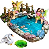 Fairy Garden Koi Fish Pond Kit - Miniature Bridge Fairy Garden Figurines with Accessories - Hand Painted Set of 6 pcs for Out