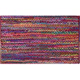 Cotton Craft - Hand Woven Reversible 100% Cotton Multi Chindi Braid Rug - 2 x 3 Feet - This Rug is made from multi color re-c