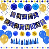 55 pcs Blue and Gold Birthday Party Decorations - Paper Fans, Balloons, Happy Birthday Banner, Pom Poms Flowers, Paper Garlan