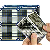 """ElectroCookie Snappable PCB, Strip Board with Power Rails for Arduino and Electronics, Gold-Plated, 3.8""""x3.5"""" (3 Pack, Blue)"""